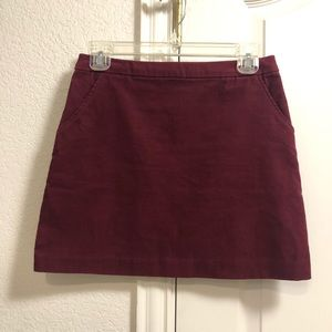 H&M Maroon Corduroy Mini Skirt